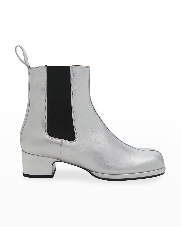 Lambskin Square-Toe Chelsea Boots