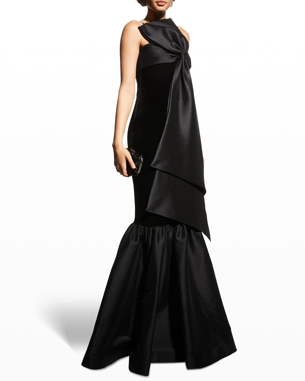 Velvet & Mikado Bow-Front Mermaid Gown