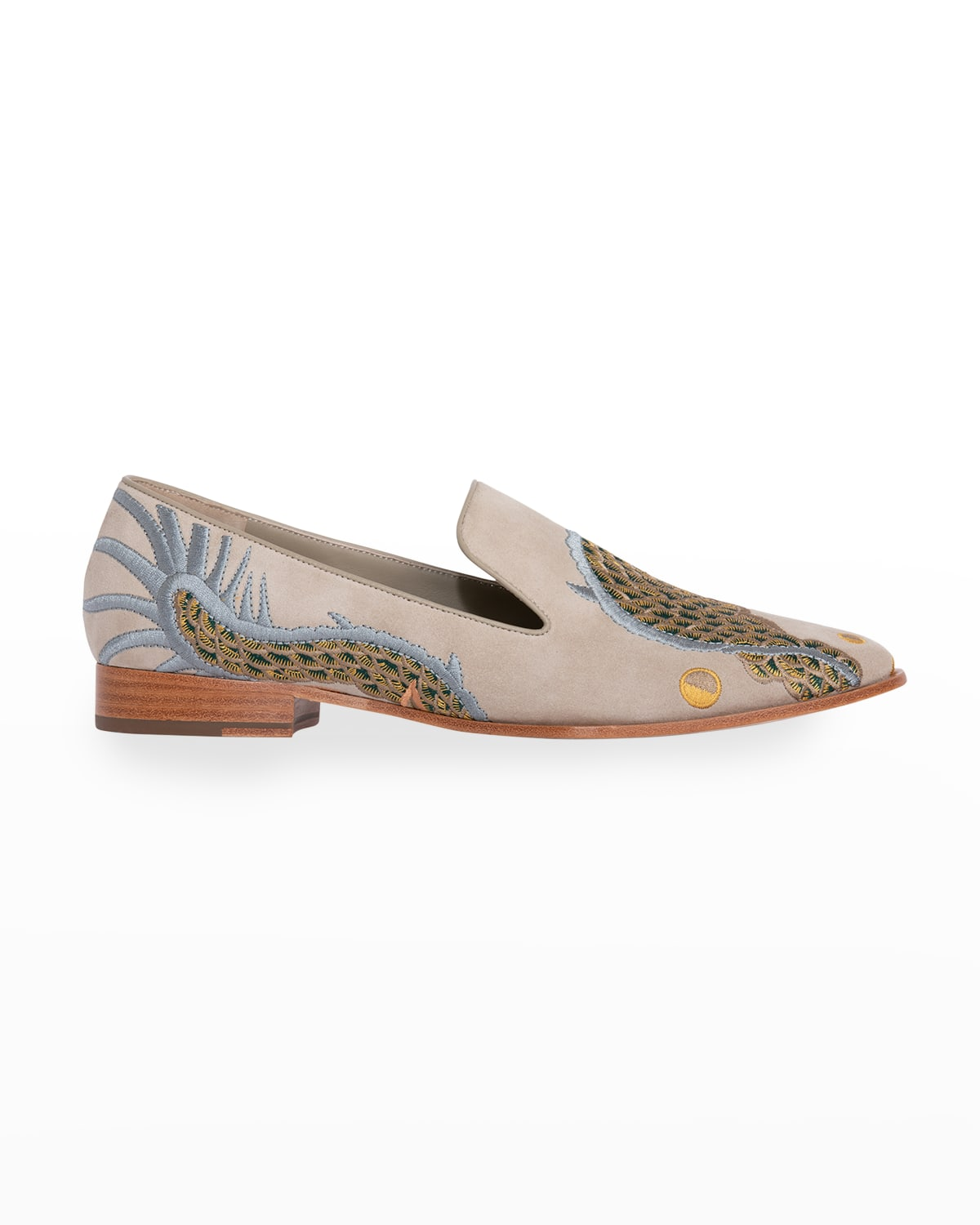 Dragon-Embroidered Suede Smoking Loafers