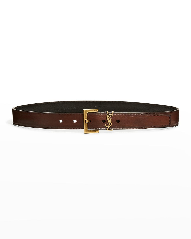 YSL Monogram Leather Skinny Belt