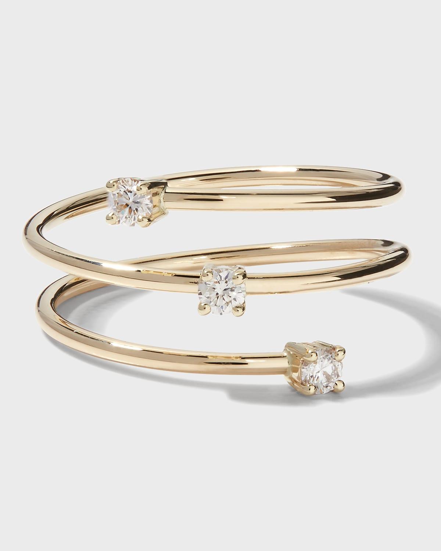 14k Triple Diamond Wrap Ring
