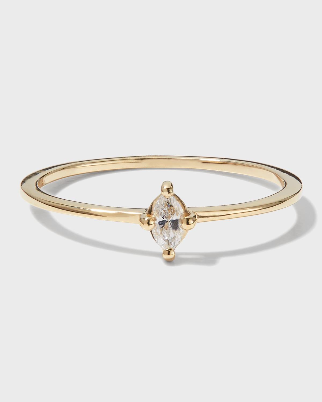 Solo Marquis Diamond Skinny Flat Band Ring