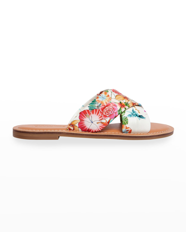 Andra Floral Crisscross Slide Sandals