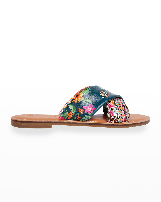 Sonomoa Printed Calfskin Slide Sandals