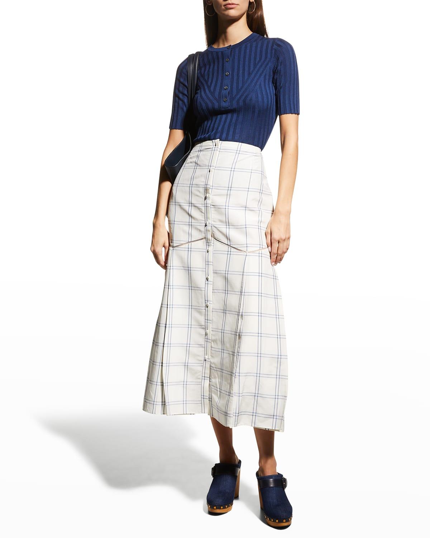 Tamala Pointelle-Trim Midi Skirt