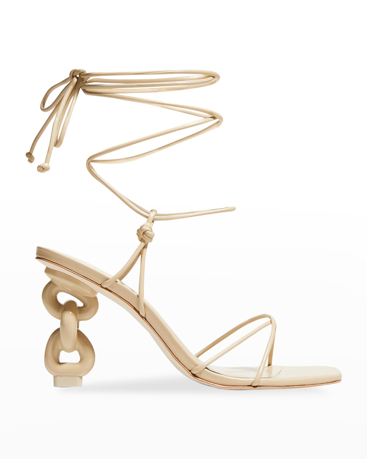 Zadie Leather Ankle-Wrap High-Heel Sandals