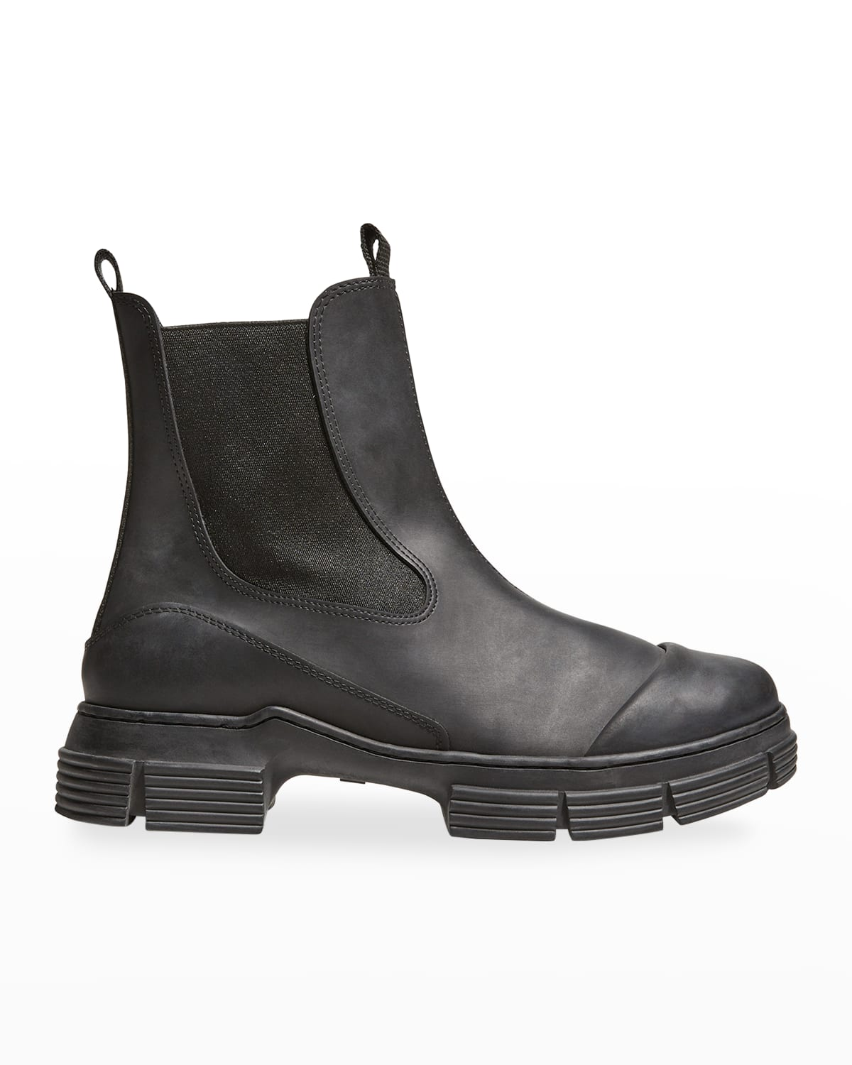City Leather Lug-Sole Chelsea Booties