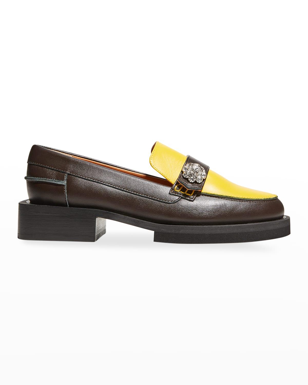 Colorblock Leather Jewel Loafers