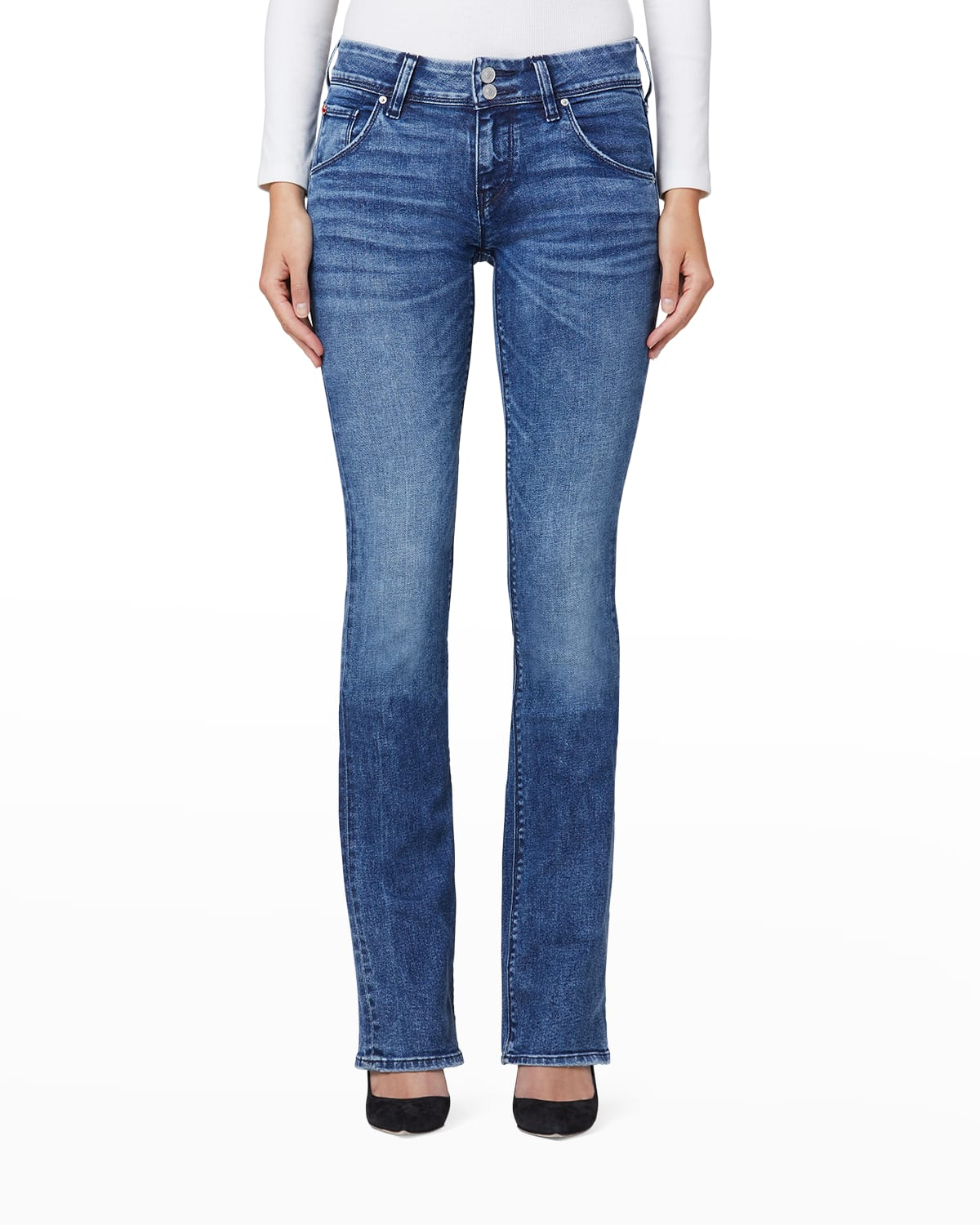 Beth Mid-Rise Baby Boot-Cut Jeans w/ Flap Pockets