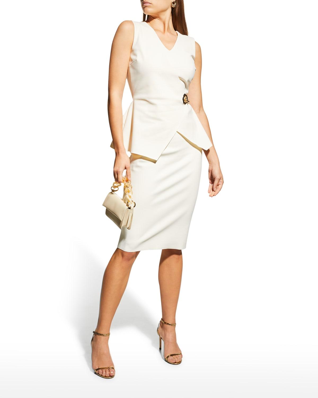 Ninetta Mock-Wrap Peplum Sheath Dress