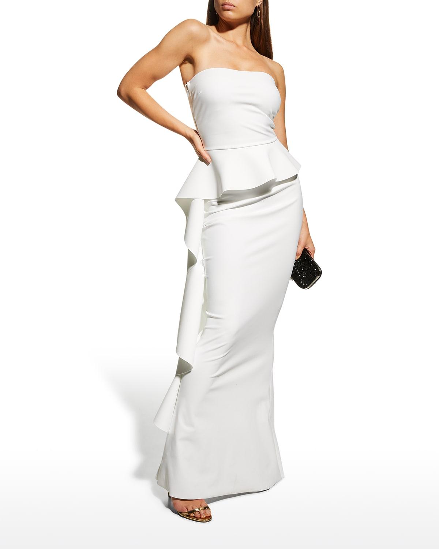 Eliska Strapless Asymmetric Peplum Gown