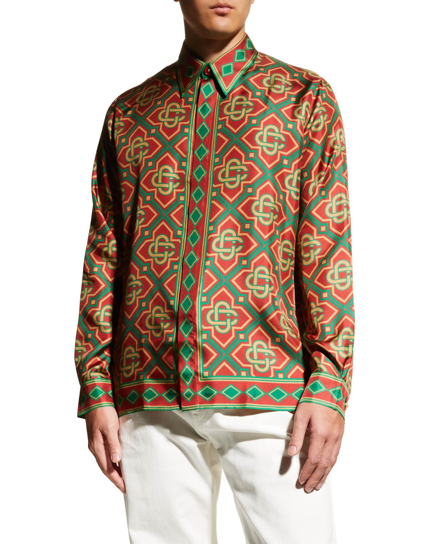 Men's Diamond Silk Sport Shirt