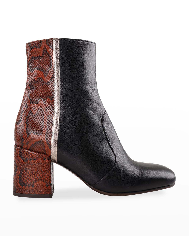 Ukea Colorblock Leather Zip Booties
