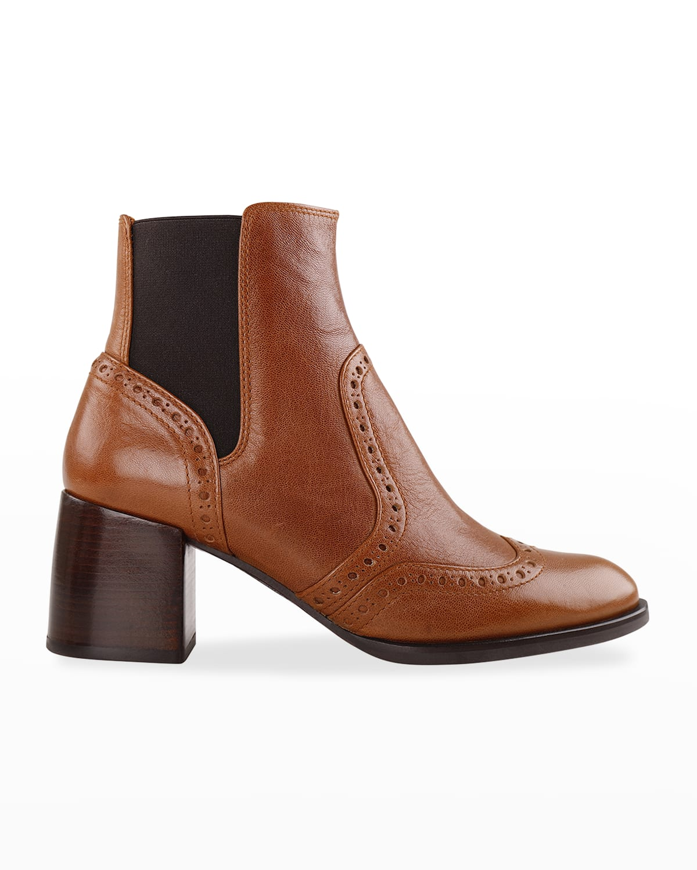 Ogun Leather Wing-Tip Chelsea Booties