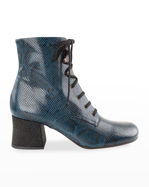 Malia Snake-Print Lace-Up Booties