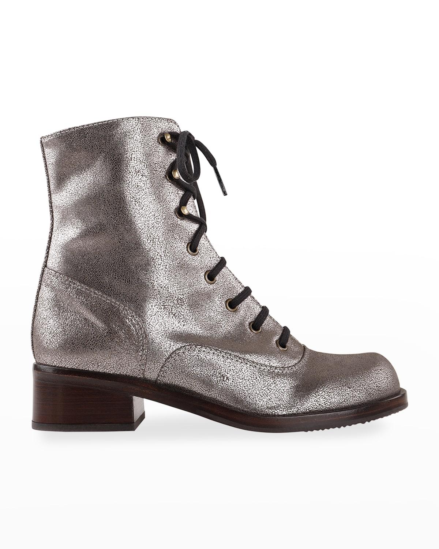Tomeu Metallic Leather Combat Booties