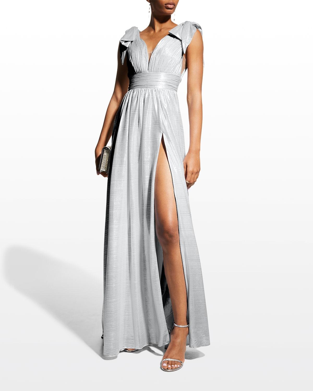 Metallic Bow-Shoulder Empire Gown