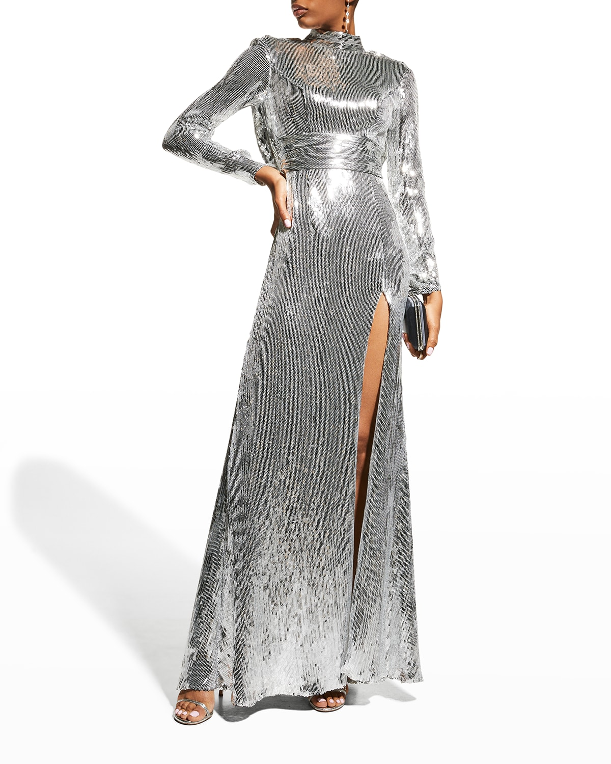 Draped-Back Long-Sleeve Sequin Gown