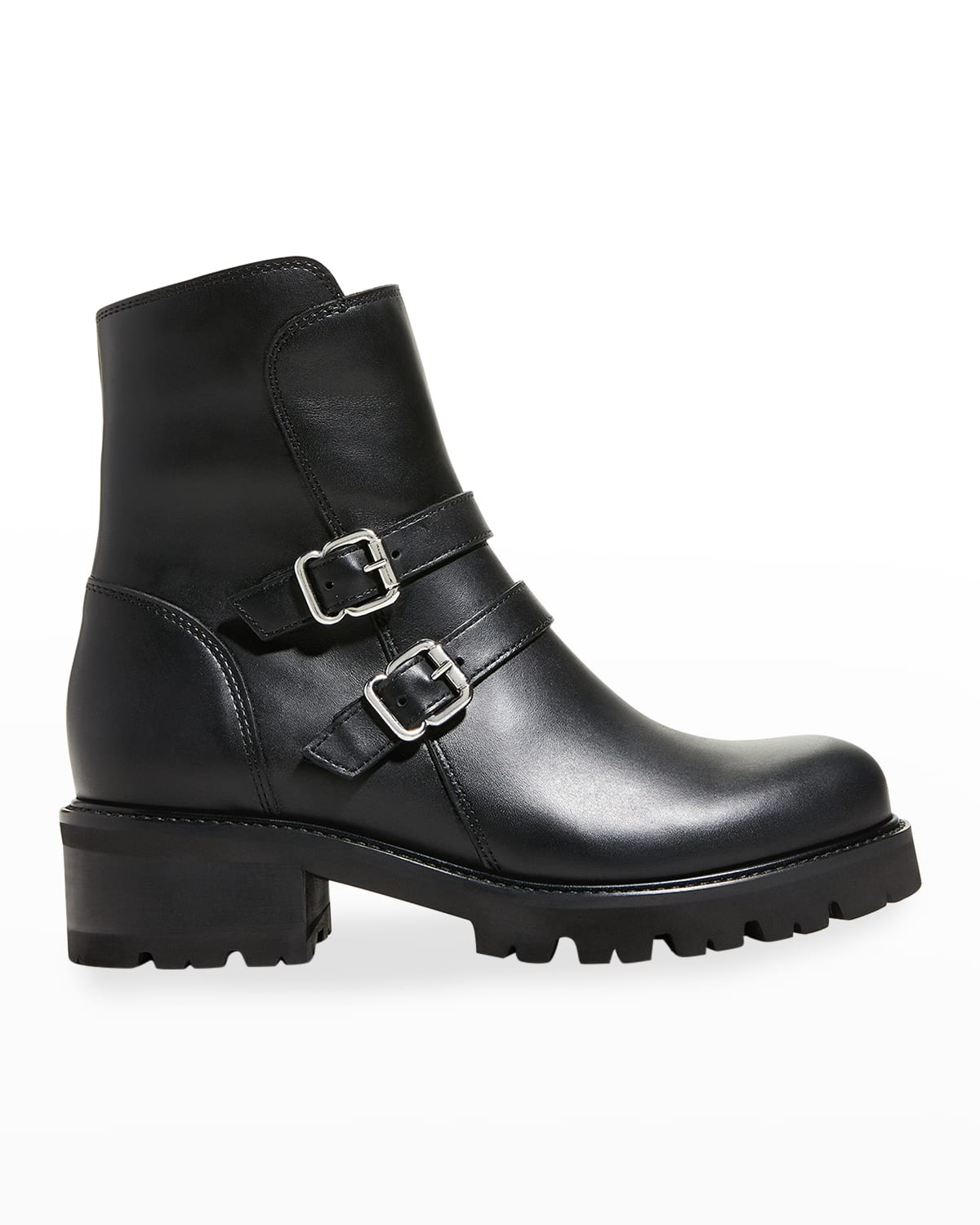 Carly Buckle Leather Short Moto Booties