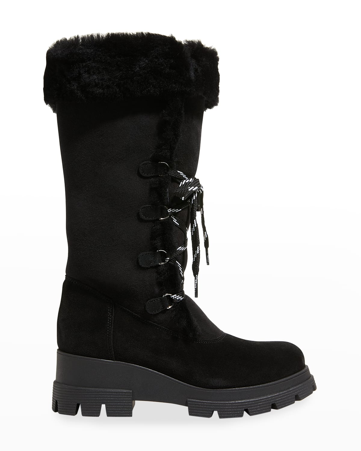 Zanabel Suede Shearling Lace-Up Boots