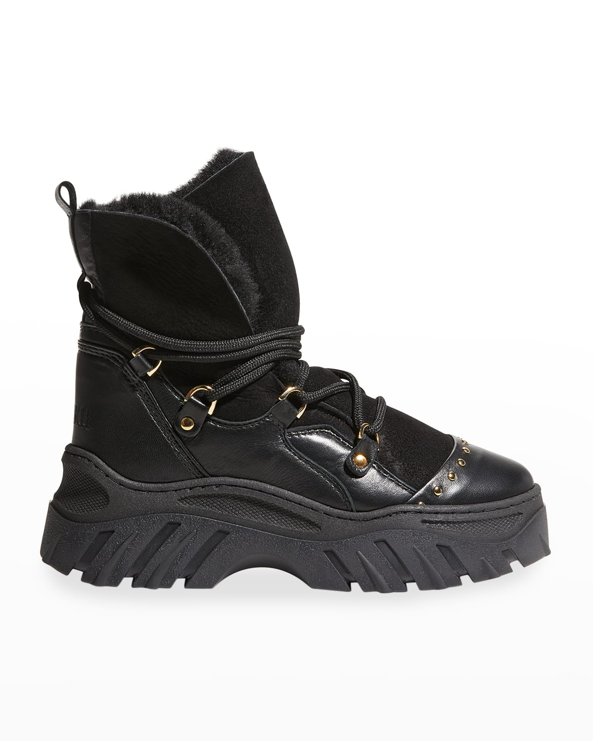 Trekking Mixed Leather Lace-Up Snow Booties