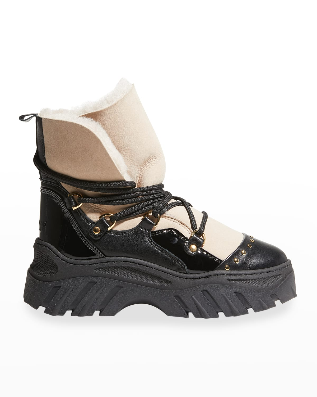 Trekking Bicolor Leather Lace-Up Snow Booties