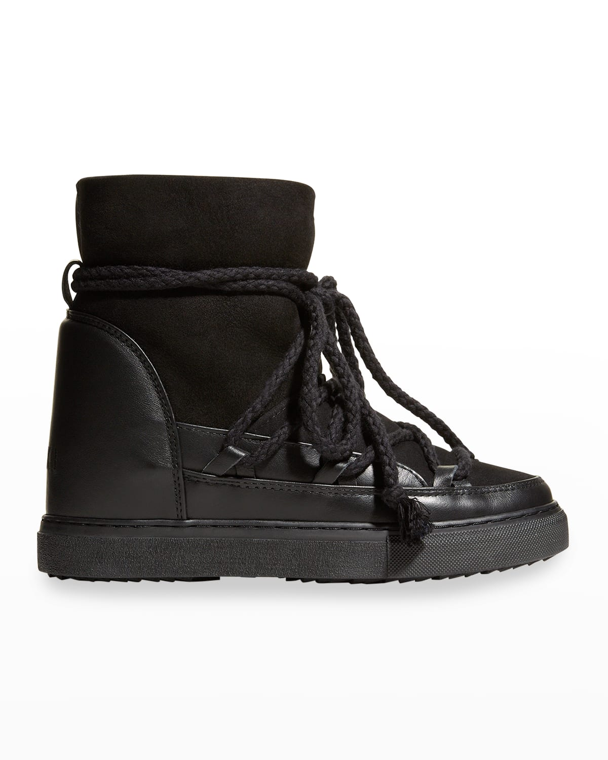 Classic Mixed Leather Wedge Snow Booties