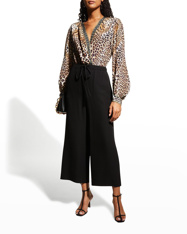 Silk Blouson-Sleeve Animal-Print Bodysuit