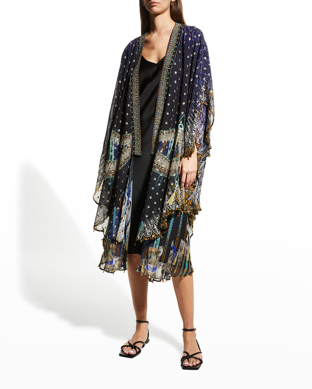 Scalloped-Edge Layering Silk Kimono