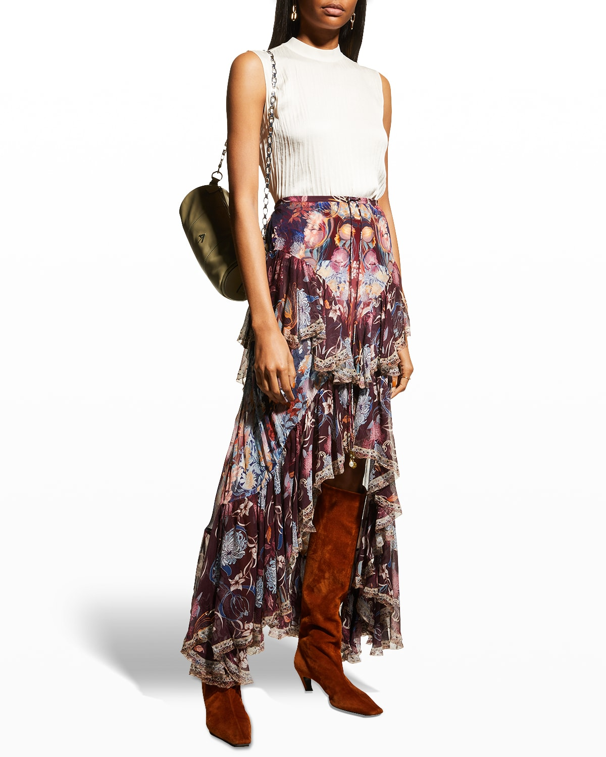 Silk Maxi Skirt with Double Frill