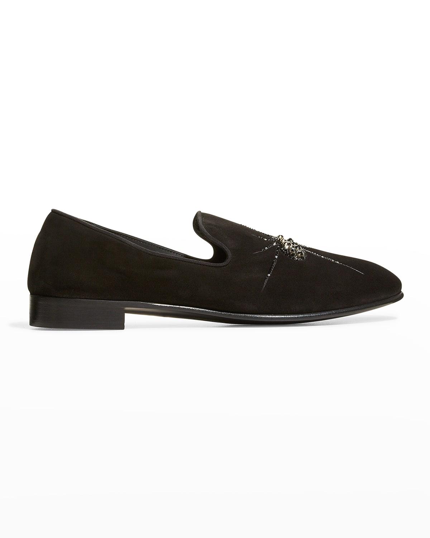 Men's Spider-Embellished Suede Loafers