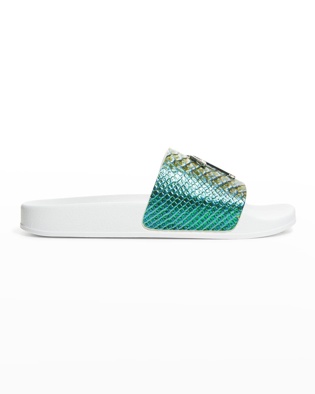 Men's Metallic Scale-Print Pool Slide Sandals