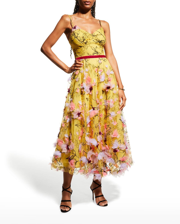 Sleeveless Tea-Length Gown w/ 3D Appliques