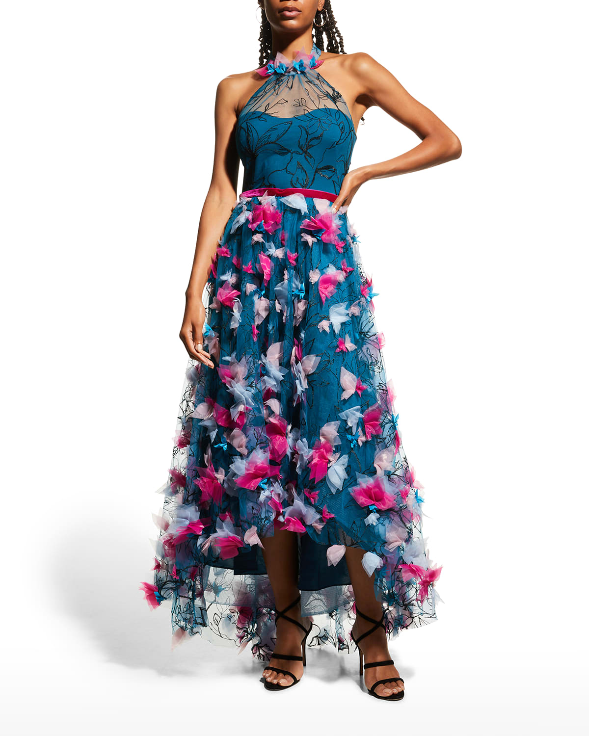 High-Low Printed Tulle Halter Gown