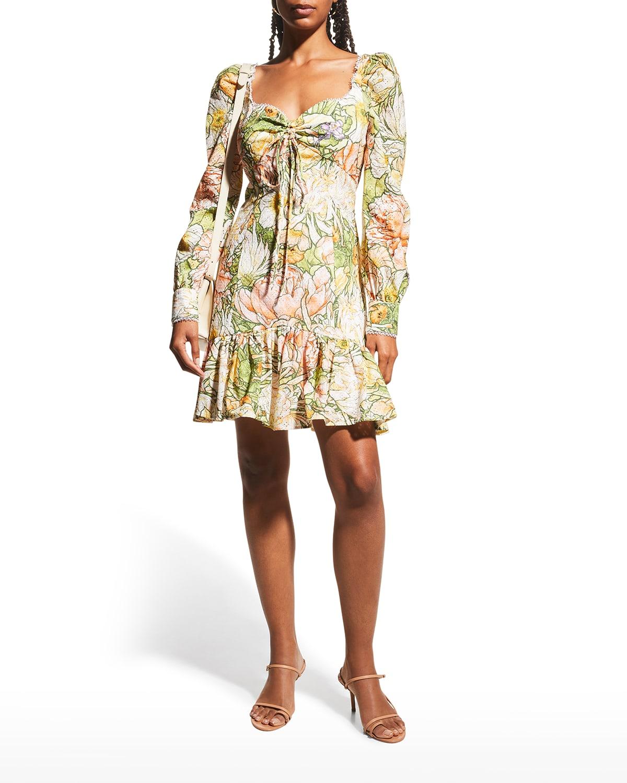 Floral Eyelet Long-Sleeve Mini Dress