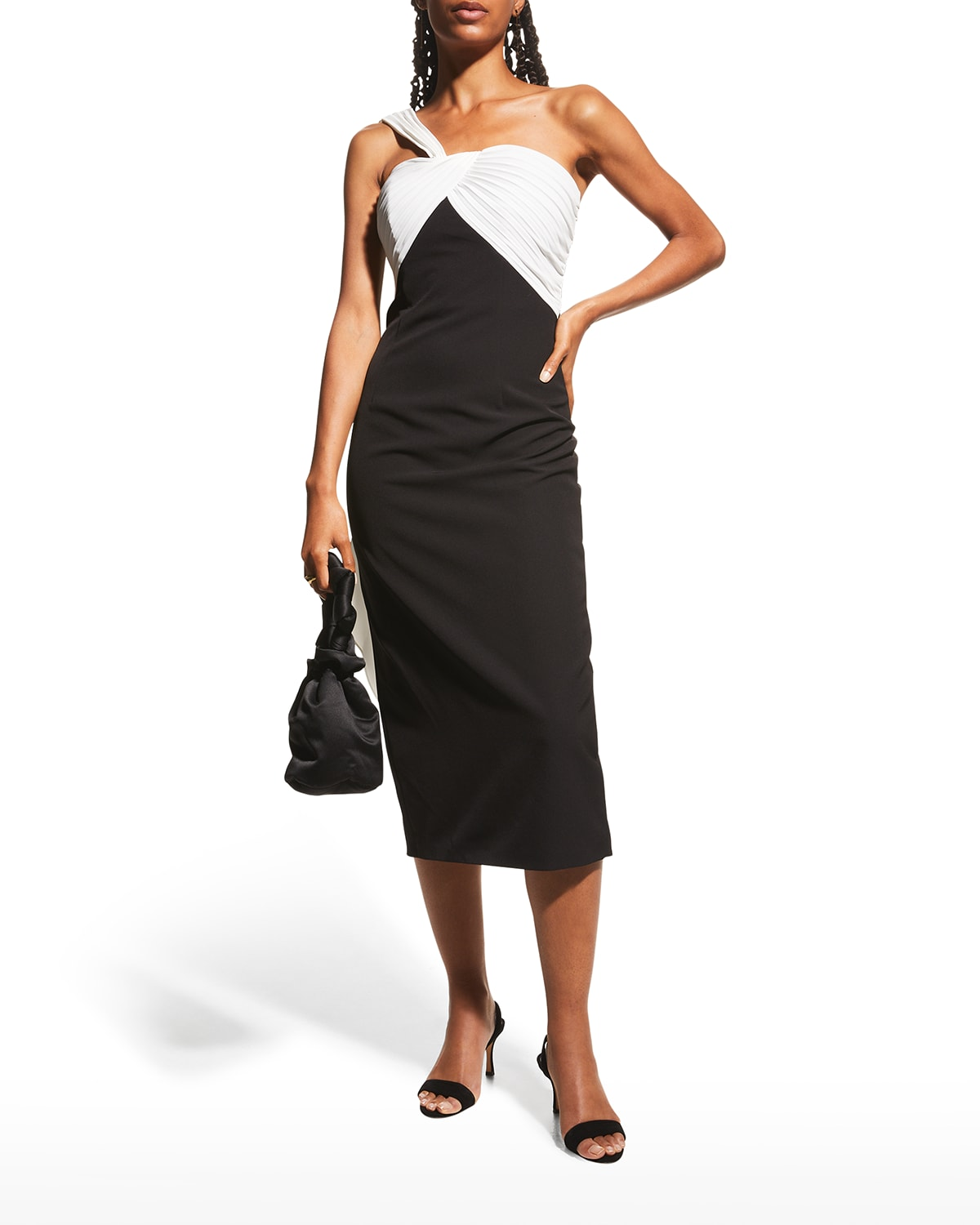 One-Shoulder Two-Tone Crepe Dress
