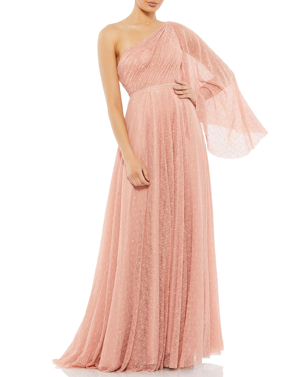 One-Sleeve Grecian Lace Gown