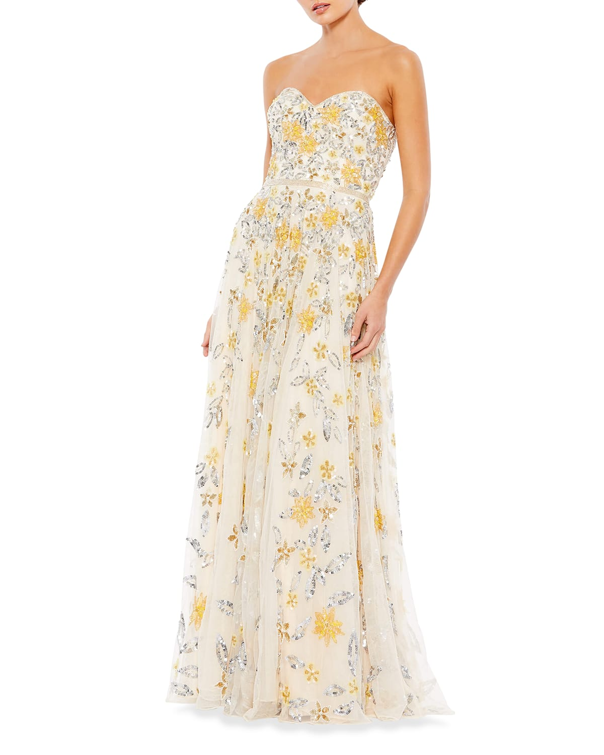 Strapless Floral Beaded A-Line Gown