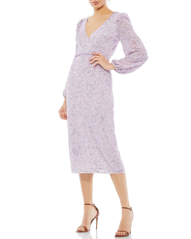 Sequin Long-Sleeve Midi Dress