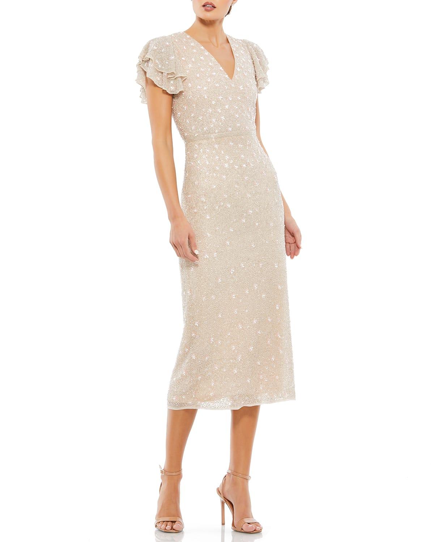 Beaded Ruffle-Sleeve Midi Dress