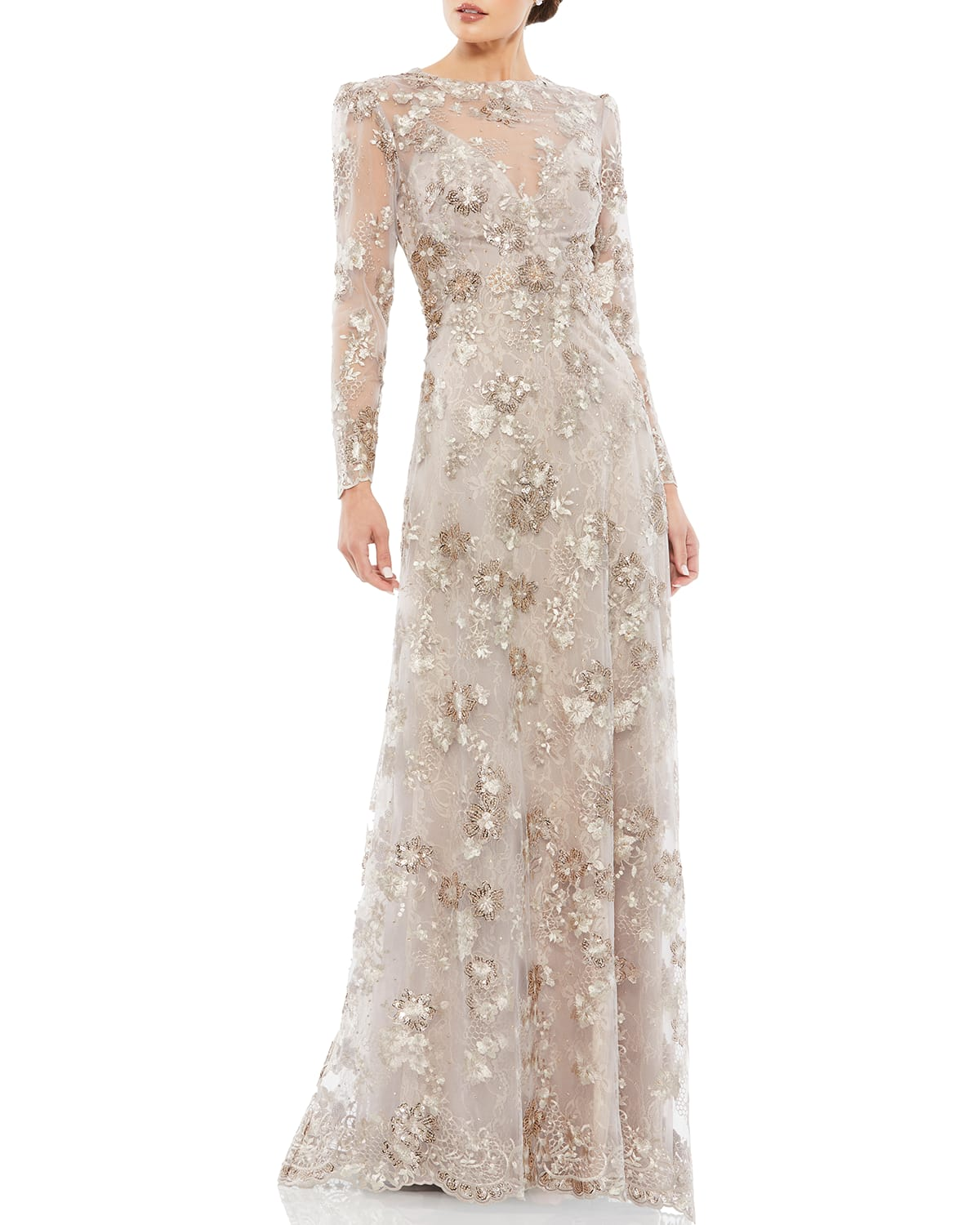 Long-Sleeve Novelty Lace Gown