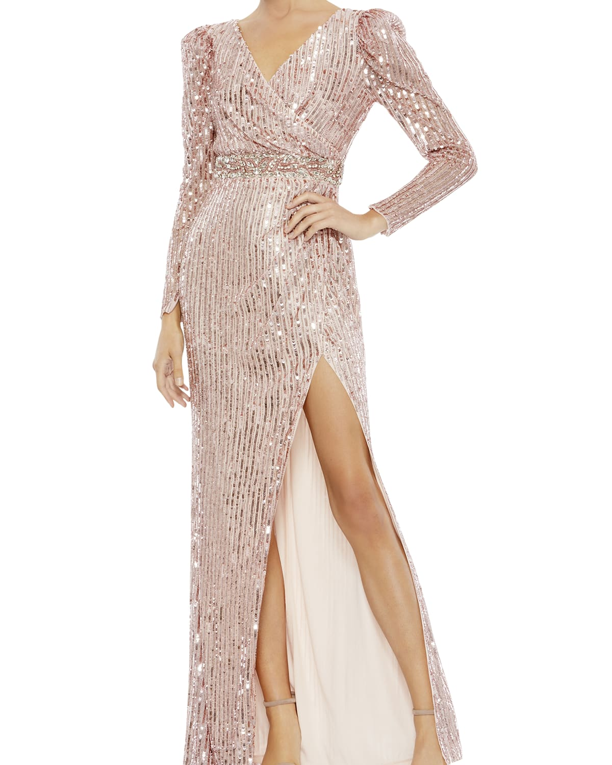 Long-Sleeve Mock-Wrap Sequin Gown