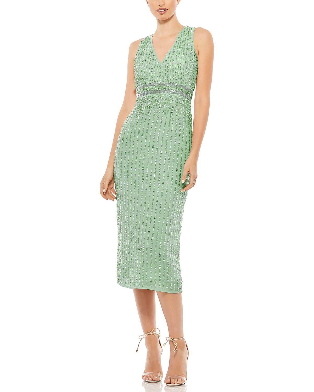 V-Neck Sequin Midi Dress