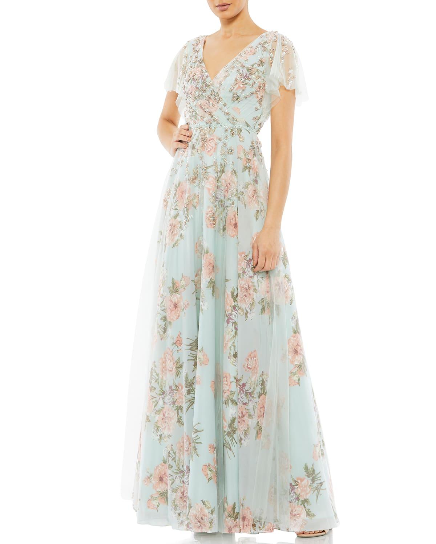 Floral-Print Chiffon A-Line Gown