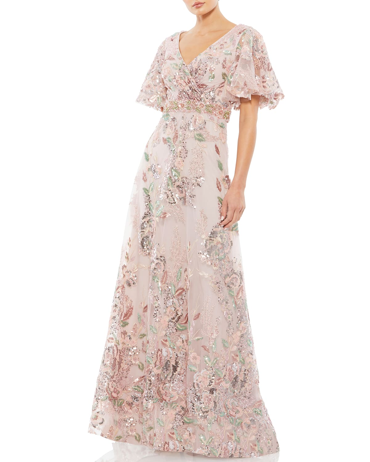 Novelty Beaded Floral A-Line Gown