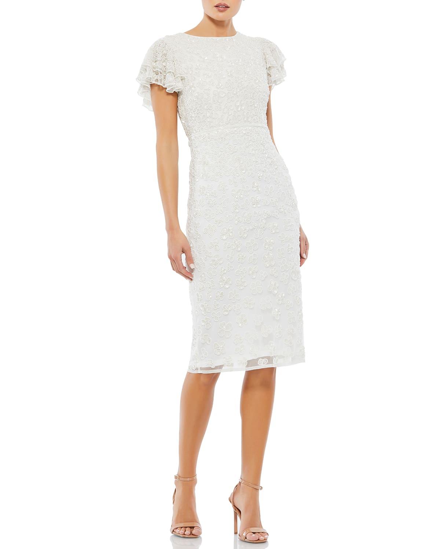 Short-Sleeve Beaded Cocktail Dress