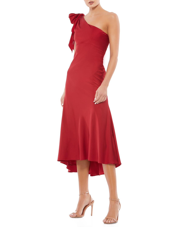 One-Shoulder Bow Ruffle Midi Dress