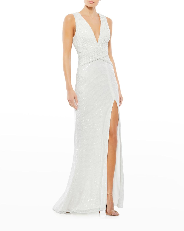 Sequin Thigh-Slit Column Gown