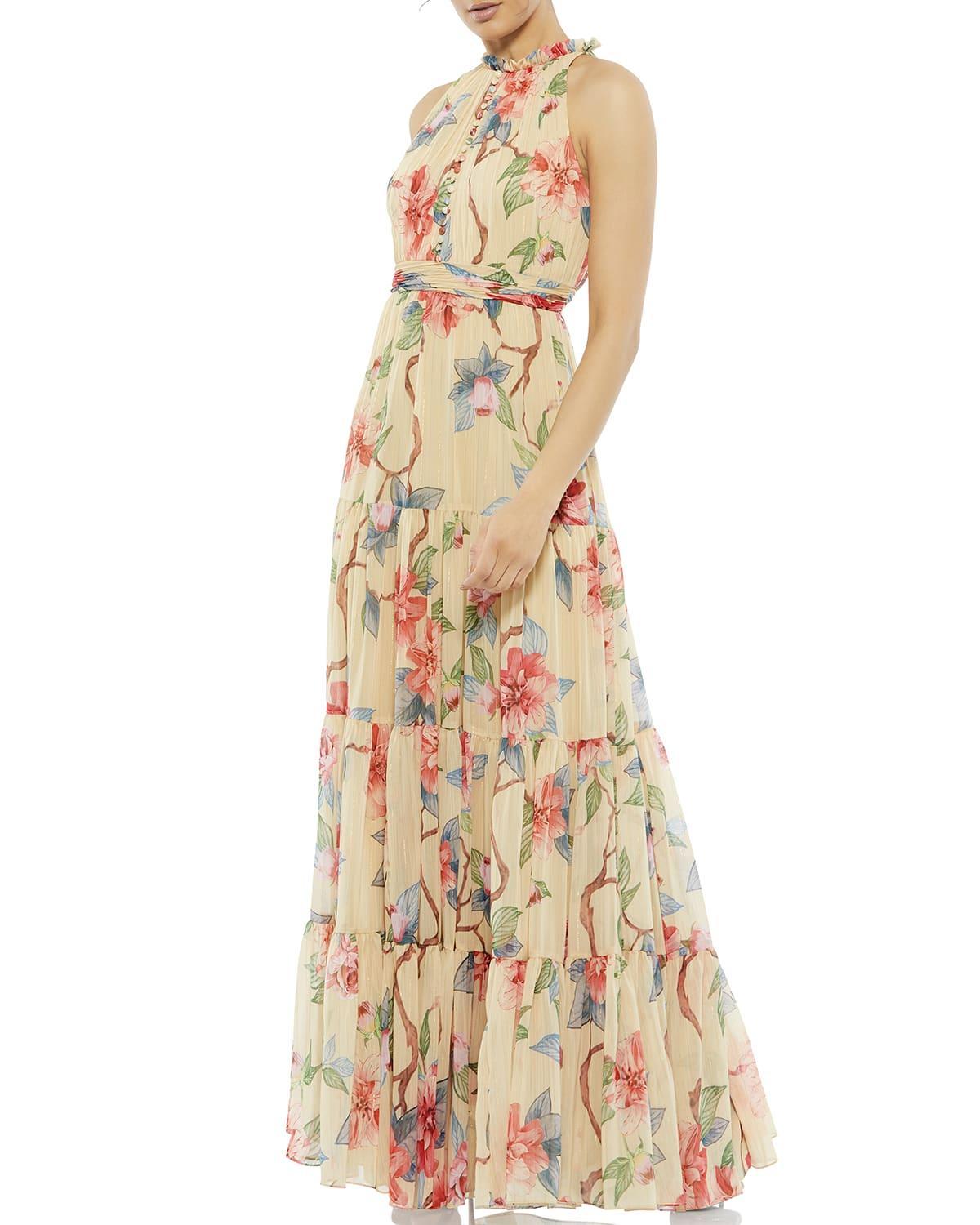 High-Neck Floral Chiffon Gown