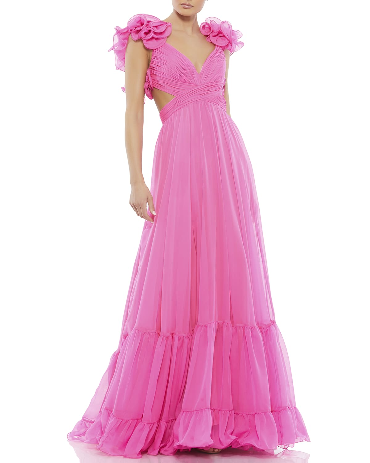 Cutout Ruffle Tulle Lace-Up Gown